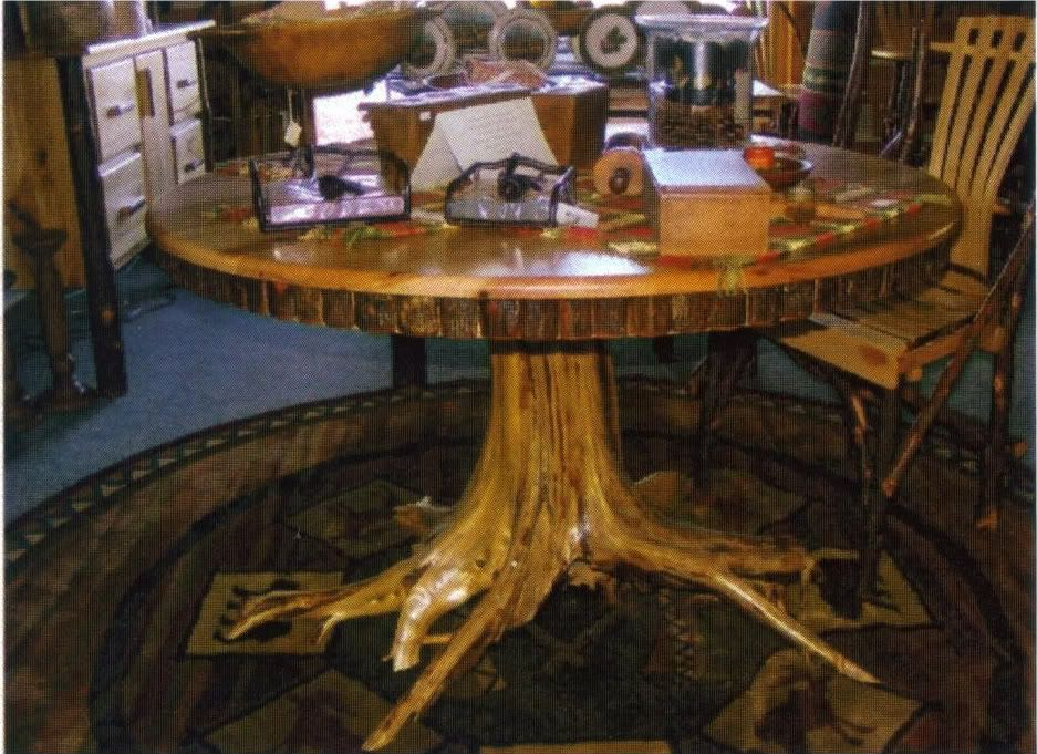 Amish rustic hickory dining table 48 round tree stump for Stump furniture making