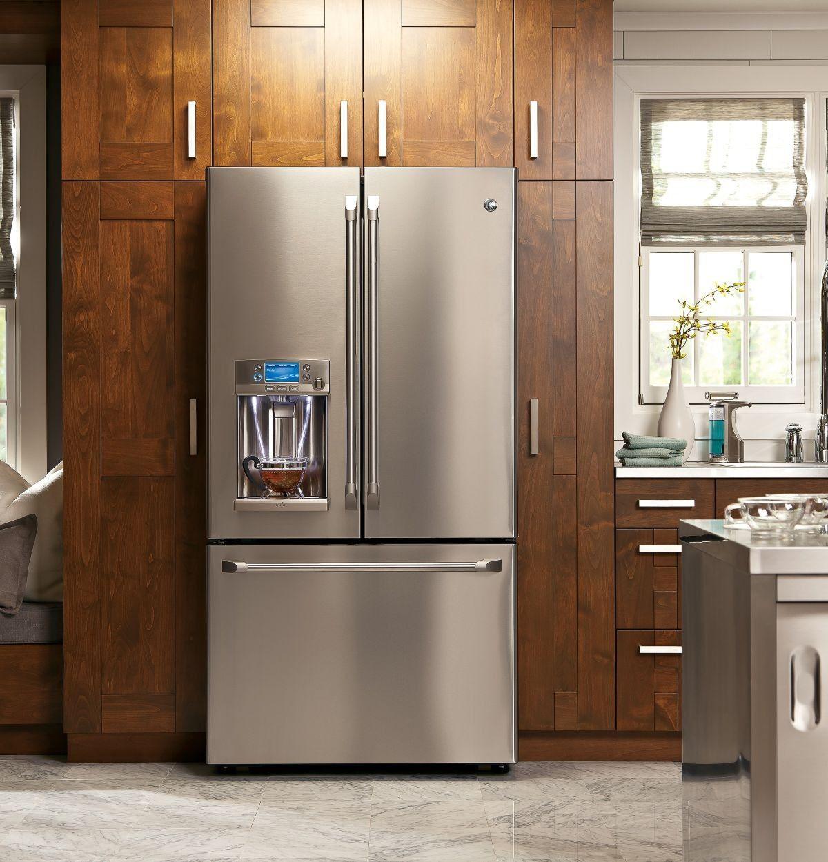 Cye22tshss By Cafe French Door Refrigerators Goedekers Com French Door Refrigerator French Doors Counter Depth French Door Refrigerator