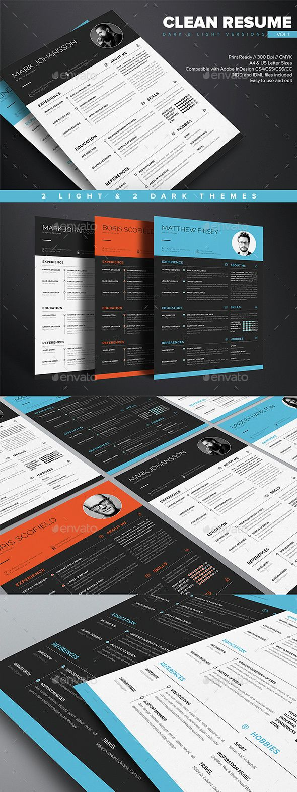 Clean Resume Template Vol.1   Template, Graphics and Cv resume template