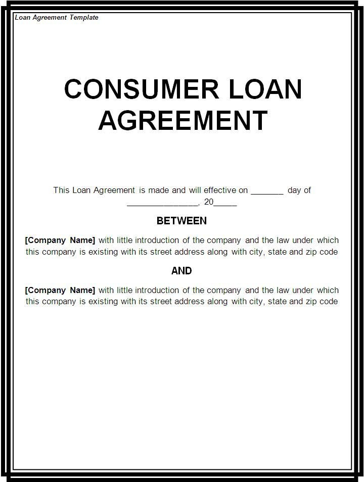 Printable Sample Loan Template Form – Sample Lending Contract