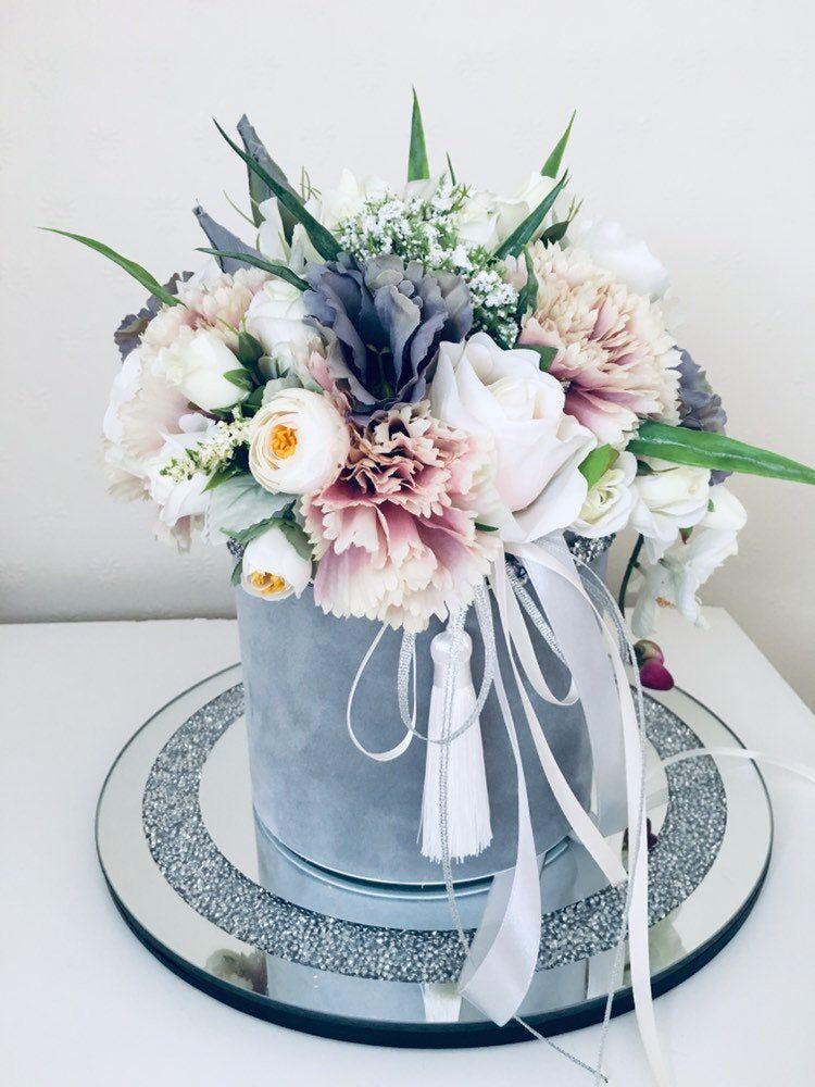 Artificial flower box , arrangement, grey, white, birthday