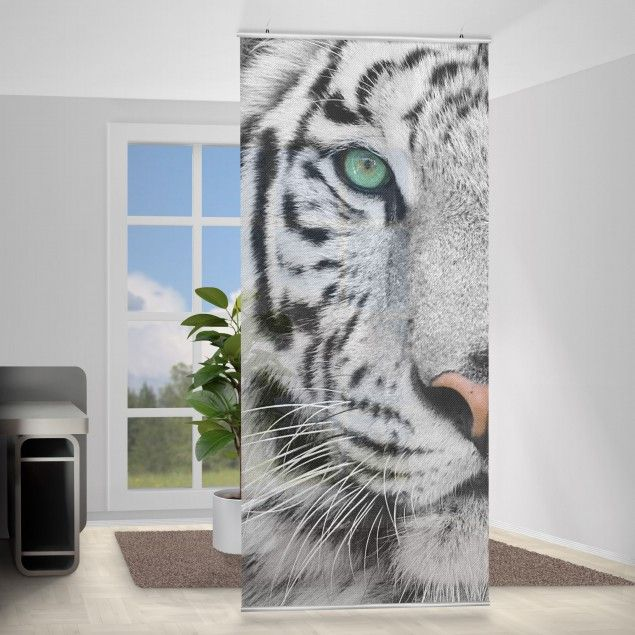 raumteiler wei er tiger 250x120cm schiebegardinen raumteiler panel curtain vorhang. Black Bedroom Furniture Sets. Home Design Ideas