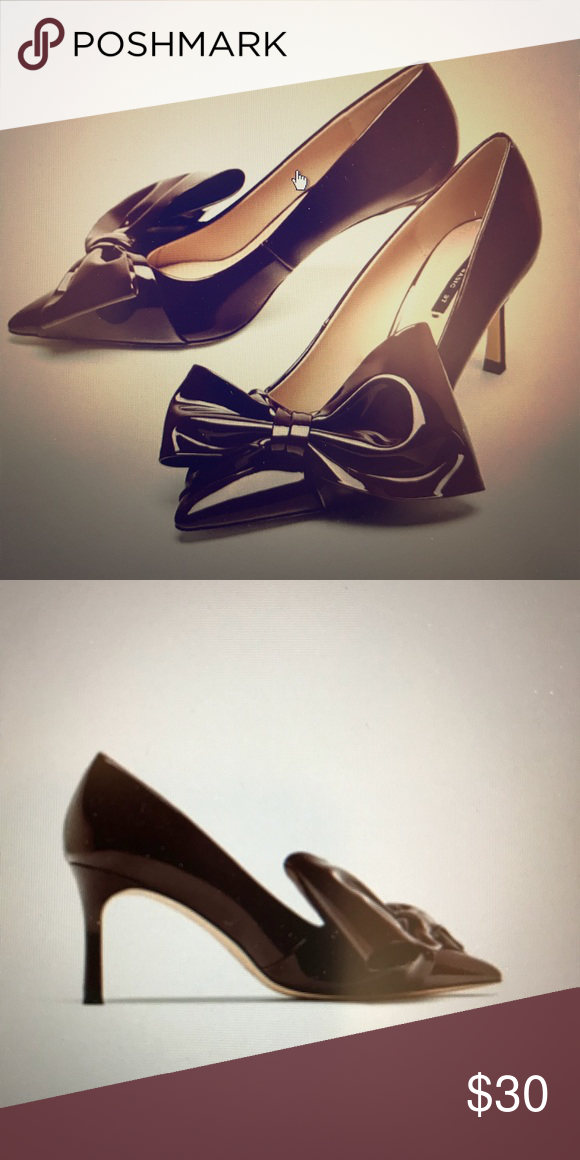 Faux Patent Court Shows With Bow Zara Burgundy High Heel Shoes Bow Detail On The Instep And Side Pointed Toes Lined Heel Bow Shoes Burgundy Shoes Zara Shoes