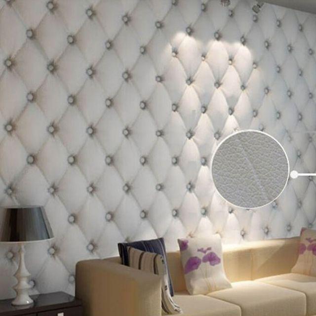 Modern Faulse Leather Softbag 3D Wallpaper PVC Diamond Sofa Tv Livingroom Bedroom Background Wall Paper Roll