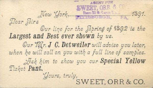 Sweet, Orr & Co. Salesman's Calling Card, 1891