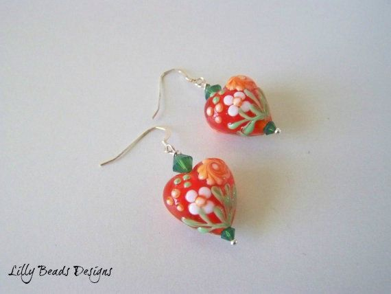 MOTHERS DAY Opaque Red Orange Green and White by LillyBeadsDesigns