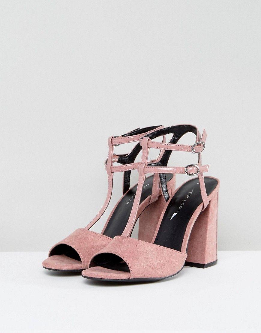 New Look Suedette T Bar Block Heeled Sandal - Pink
