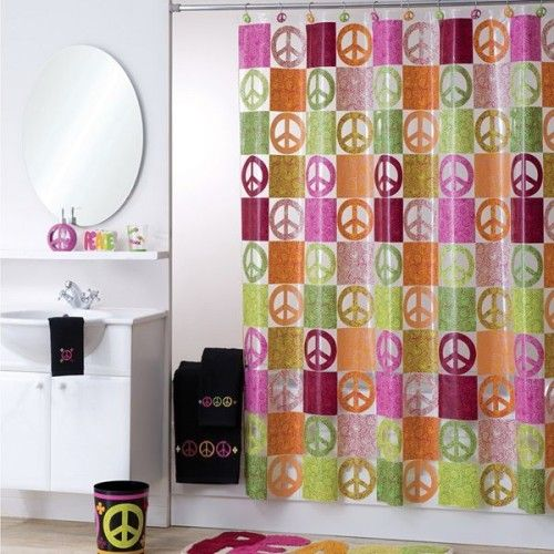 Like The Peace Sign Bathroom Shower Curtain And Wastebasket