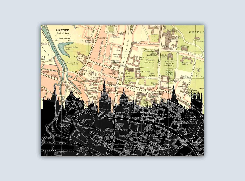Oxford Skyline, Oxford England Print, Personalized Skyline Print ...
