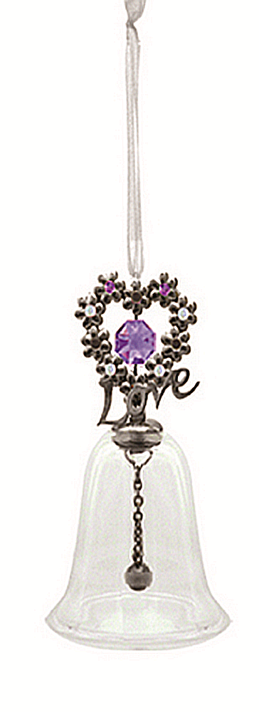 Love is Blooming Bell Ornament - Gunmetal Finish  --  Now, this bell is nothing short of just so pretty! The purple Swarovski crystal adornments look stunning against the gunmetal finish and the clear bell simply and beautifully sets it all off for the perfect package. Do you see that ''Love'' in there? Whom do you love?