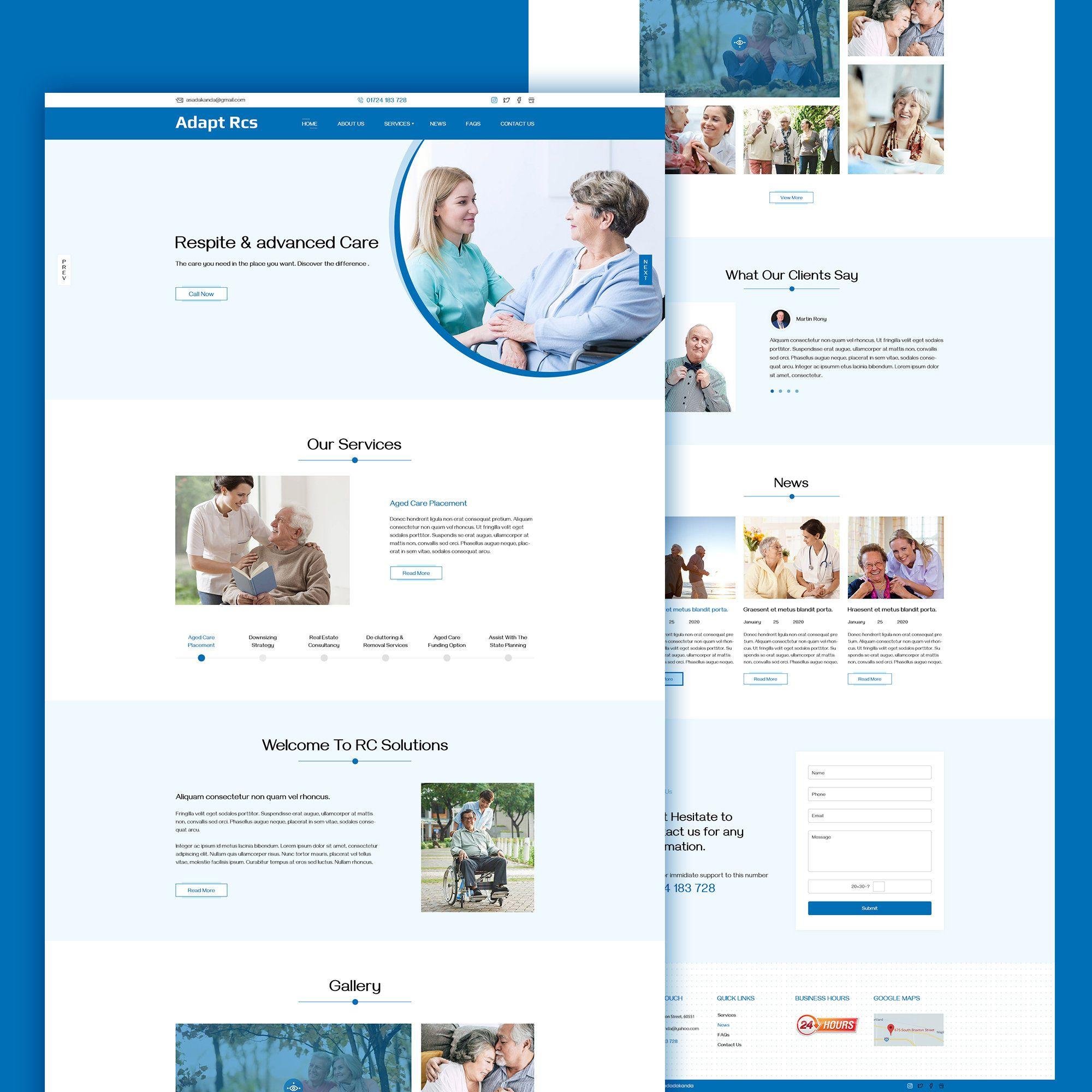 You Care Is A Modern Website Psd Template For Elderly House Business Web Template Website Design Custom Website Flat Design In 2020 Custom Website Modern Website
