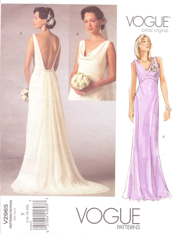 Vogue Bridal Original Pattern V2965 Womens Wedding Or Bridesmaid Dress Size 16 18 20 Bust 38 40 42 Uncut 15 00 Via Etsy