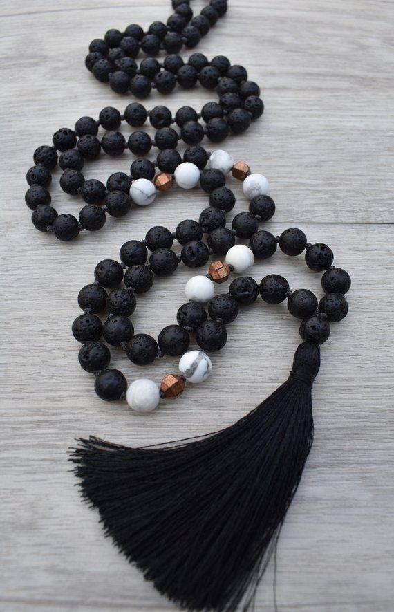 Mala Necklace ~ Solstice ~ Black Lava Stone, Howlite & Copper ~ 108 Beaded Tassel Necklace, Japa Meditation, Yoga Jewelry, Chakra