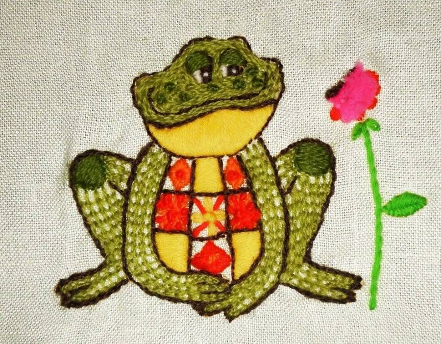 Bright FROG Retro Floral Vintage Finished Completed Wall Art CREWEL ...