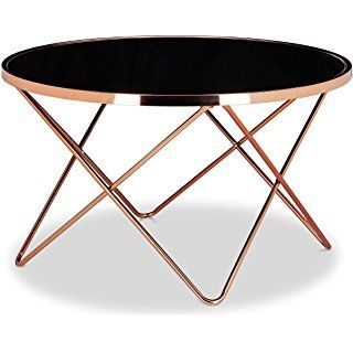 Relaxdays Beistelltisch Copper Aus Kupfer Und Schwarzglas Gross Hbt 49 X 85 X 85 Cm Glas Couchtisch In Edlem Design Als Glastisch Und Sofatis Metal Metal Sanati