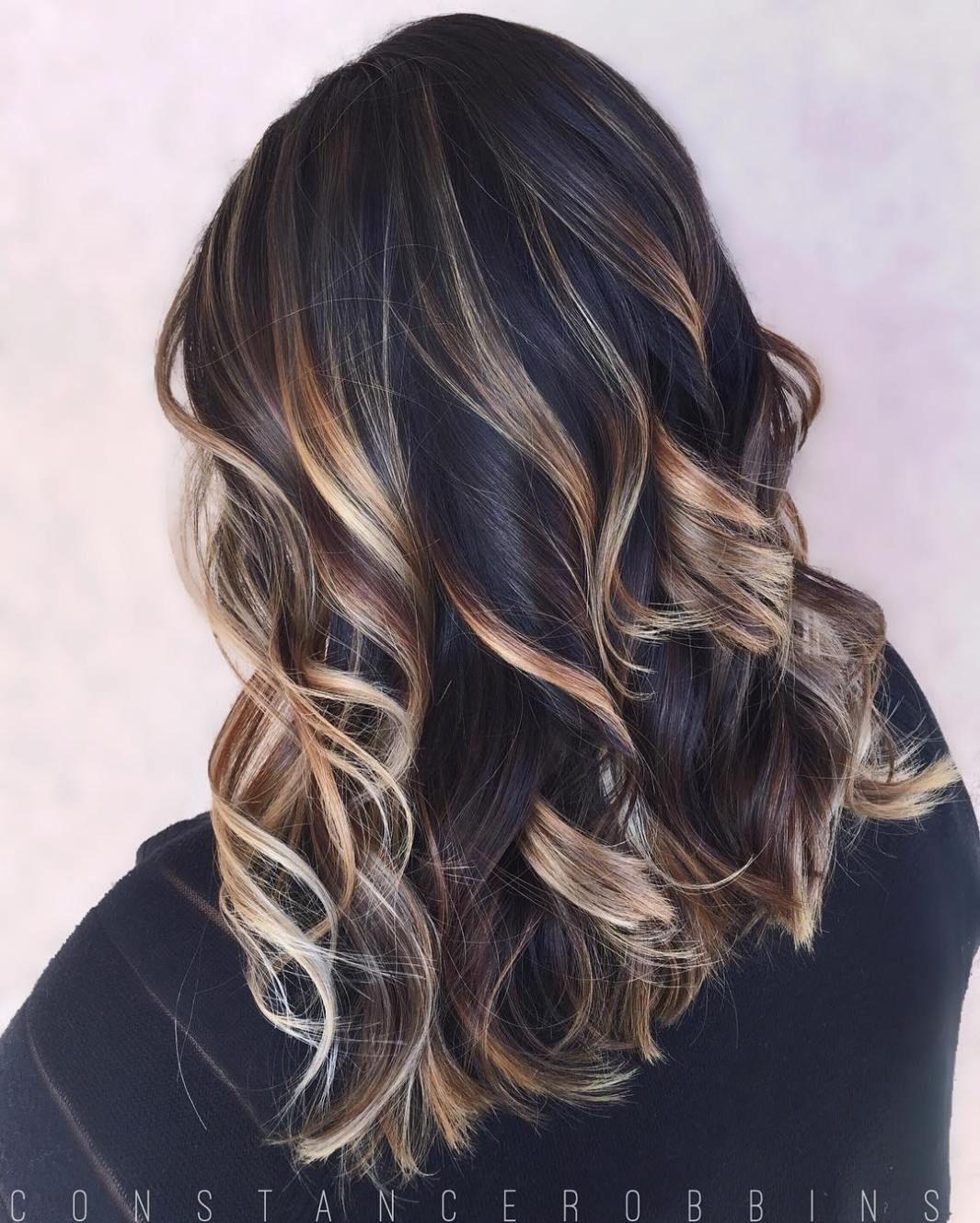 hairstyles featuring dark brown hair with highlights black hair