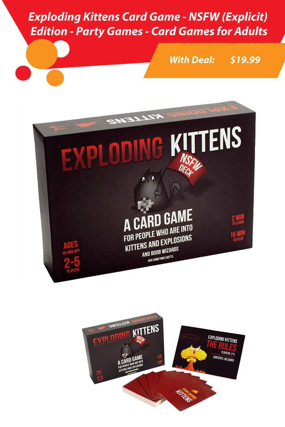 Price 19 99 Exploding Kittens Card Game Card Games Exploding