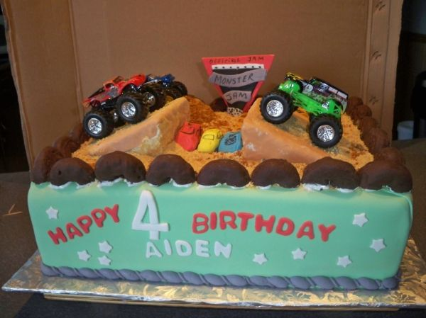 Astonishing Monster Trucks With Images Truck Birthday Cakes Childrens Personalised Birthday Cards Sponlily Jamesorg