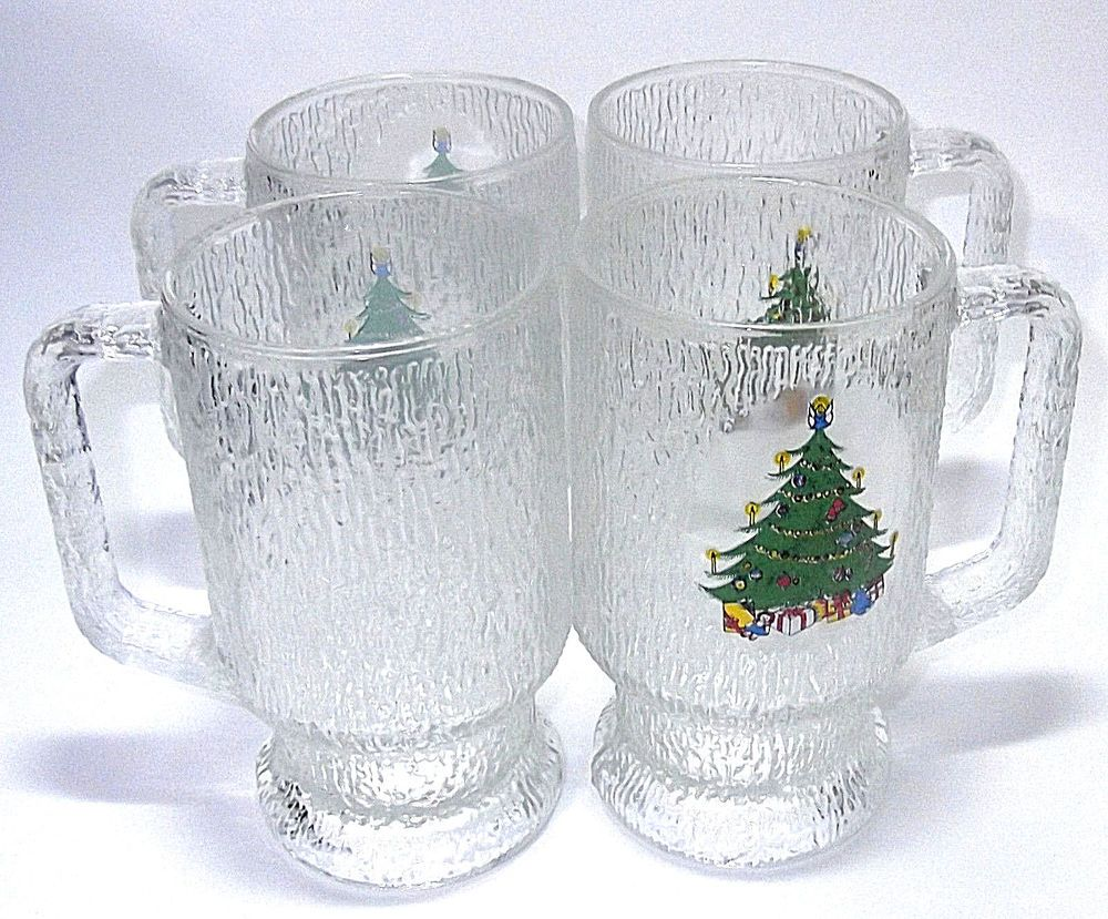 Indiana Clear Bark Glass Christmas Tree Footed Mugs Cooler Set of 4 ...
