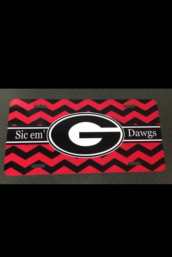 UGA Georgia bulldogs red black chevron metal car tag university of ...
