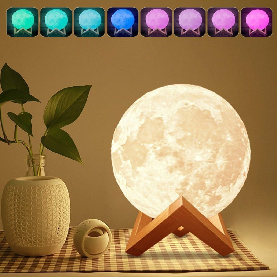 Amazon Com 10 Moon Lamp Genuine Moon Light Lamps 10 3d Printed Moon Light With Stand The 3d Moon Lamp With Led 16 Colors Moon Light Lamp Lamp Lamp Light
