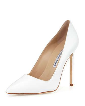 BB Leather 115mm Pump, White  by Manolo Blahnik at Neiman Marcus.