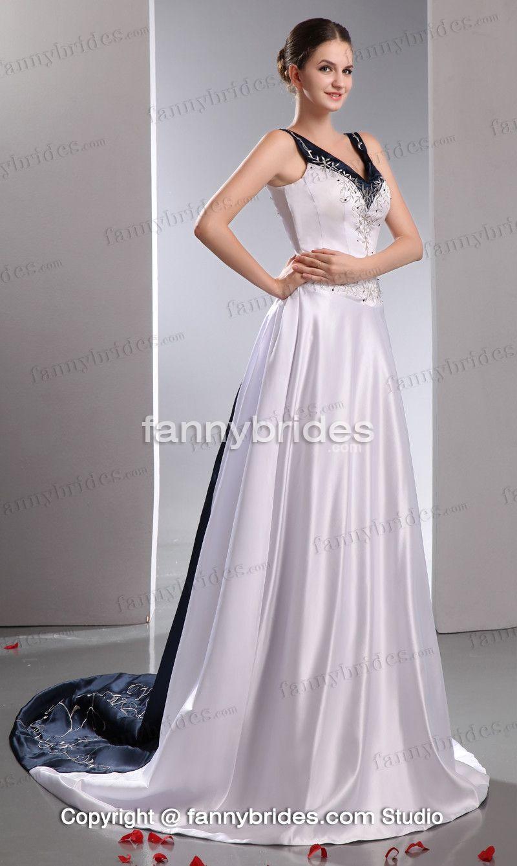 Superior Two Tone V Neck Satin High Quality Wedding Gown   Fannybrides.com