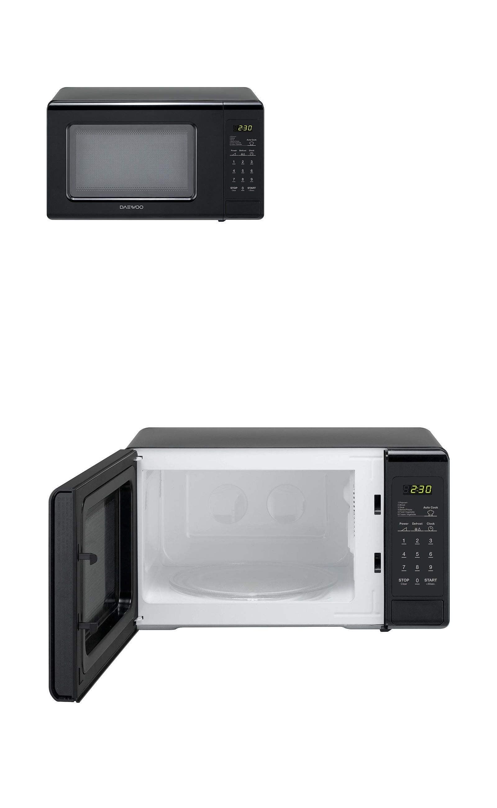 Microwave Ovens 150140 New Daewoo Microwave Black 0 7 Cu Ft