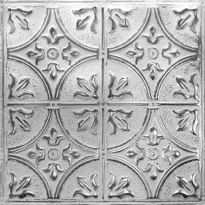 American Tin Ceilings 24 In X 24 In 5 Pack Silver Washed White Metal Tin 15 16 In Surface Mount Panel Ceiling Tiles Lowes Com Tin Ceiling Faux Tin Ceiling Vintage Tin Ceiling Tile
