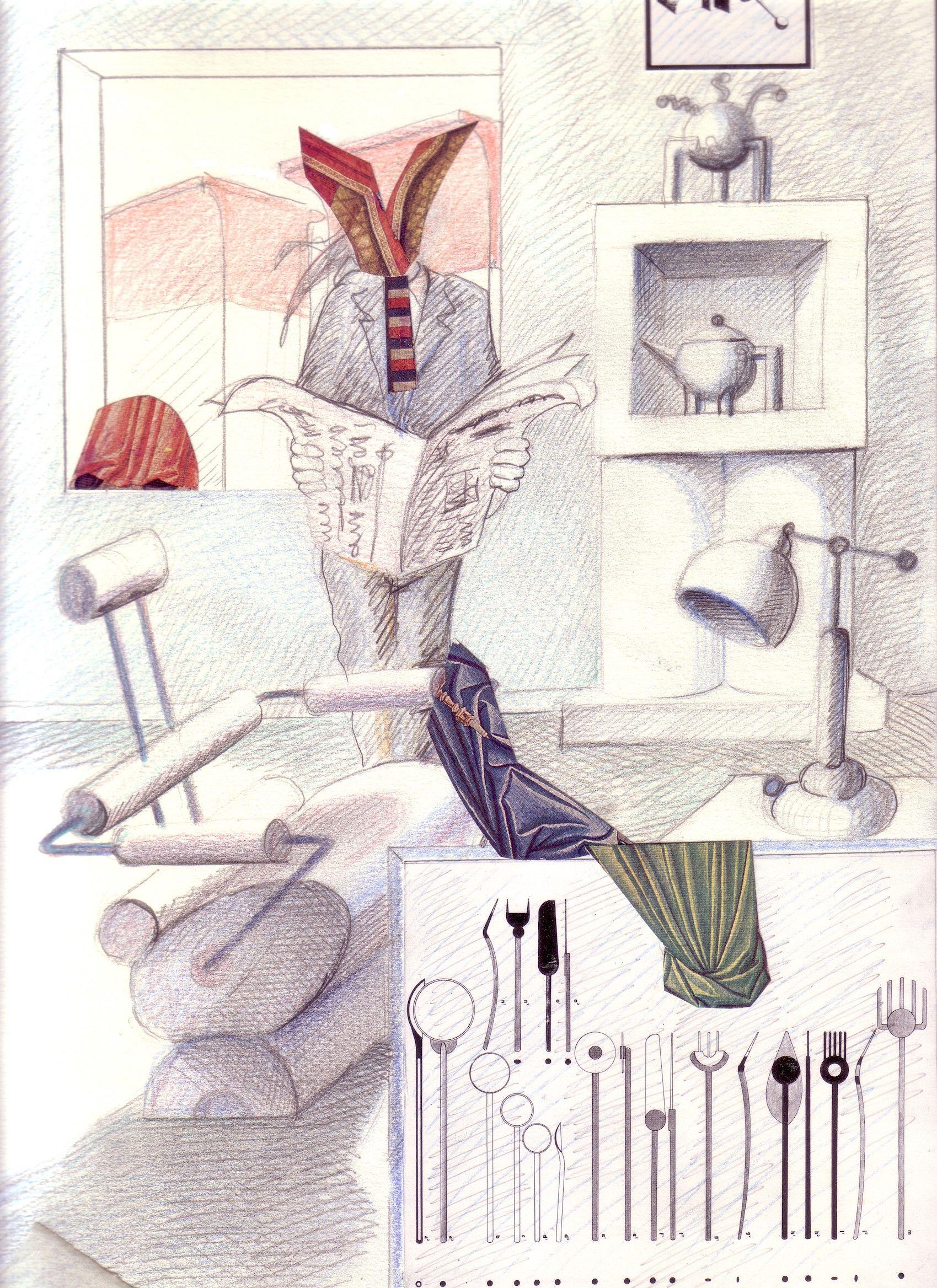 1991 INTERNO A BERLINO_ DESIGN_carta lucesa cm. 33 x 24.by Brunetto De Batté