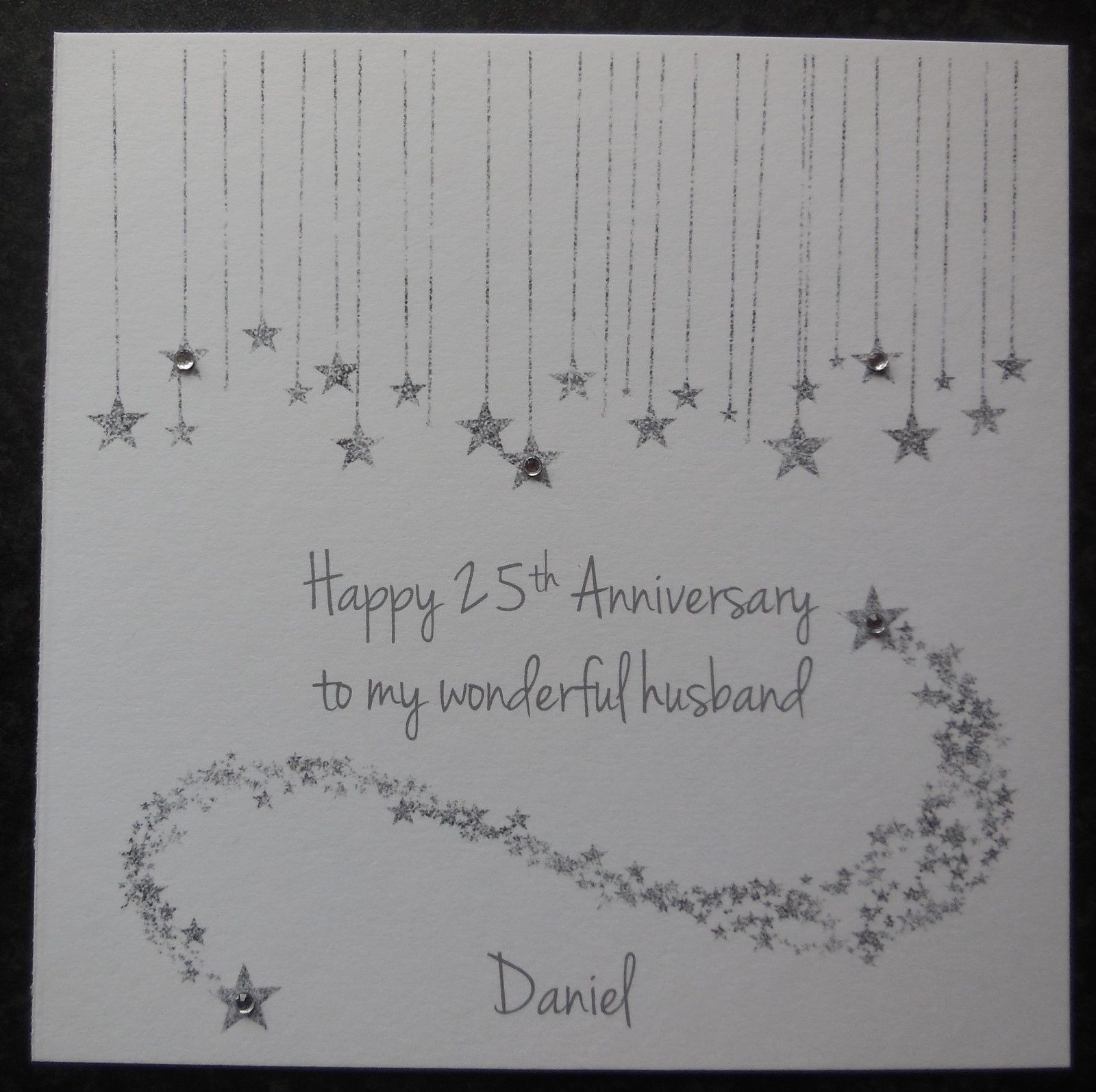 Personalised handmade on our th silver wedding anniversary card
