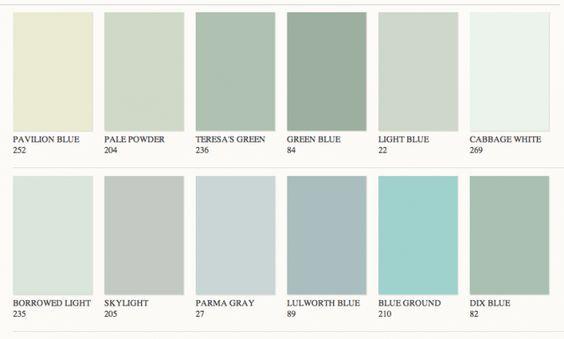 La Palette De Verts De Farrow Ball Palette De Couleurs Vert Couleur Vert Murs Vert Olive