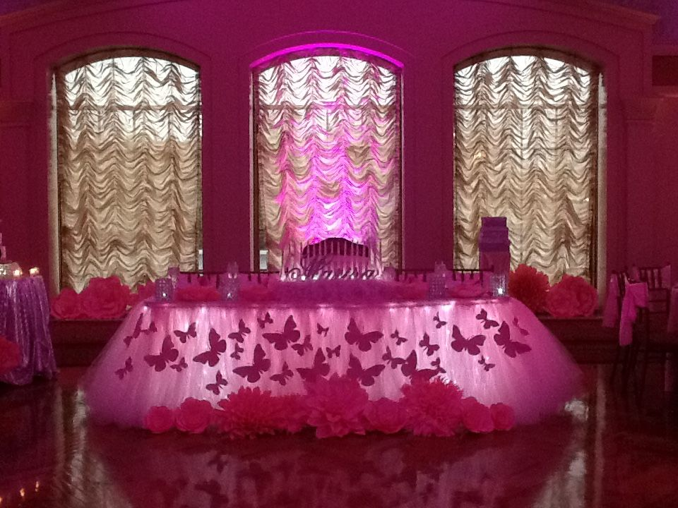 Rent Butterfly Themed Pink Tutu Tulle Table Skirting In NY NJ PA CT Call