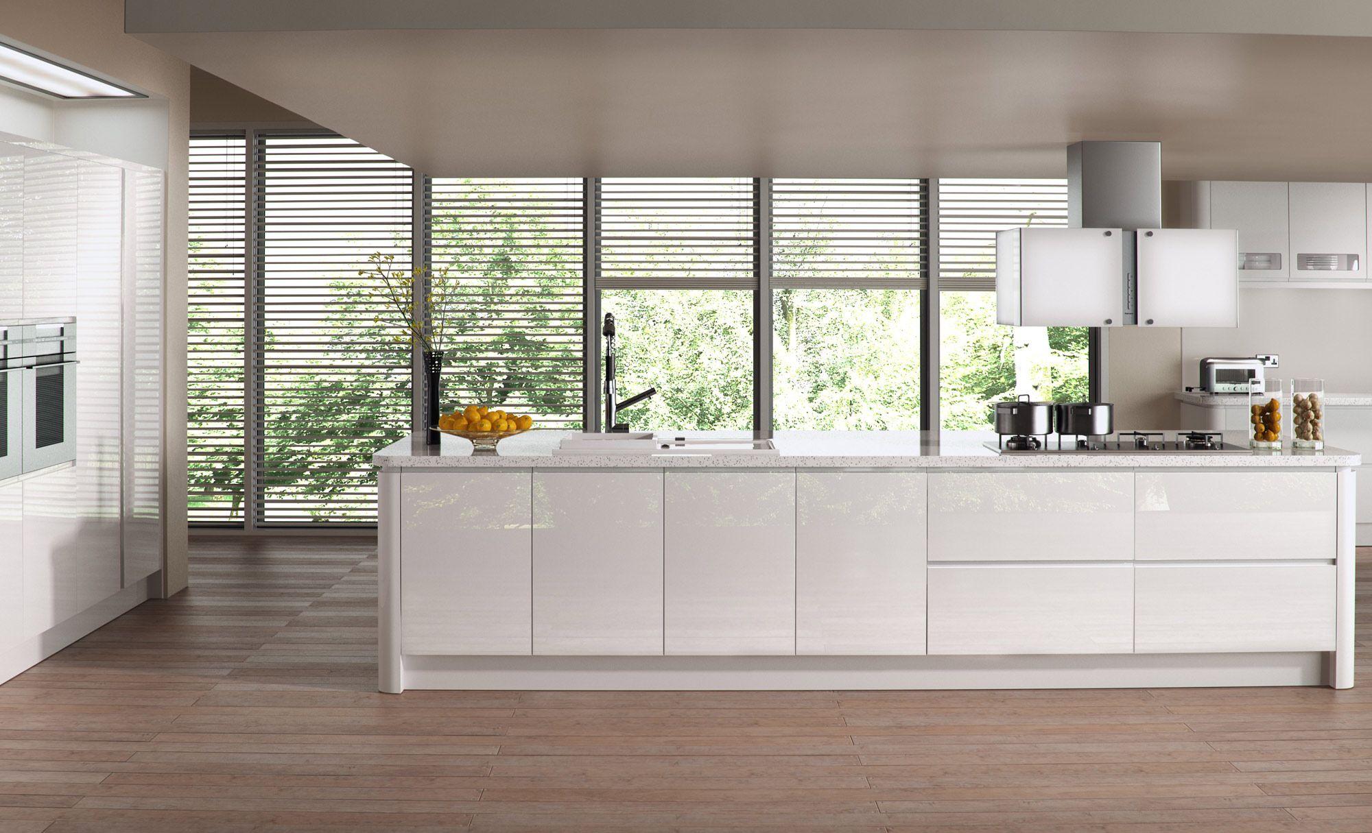 Strada Gloss White Handleless White Modern Kitchen Contemporary Kitchen Handleless Kitchen