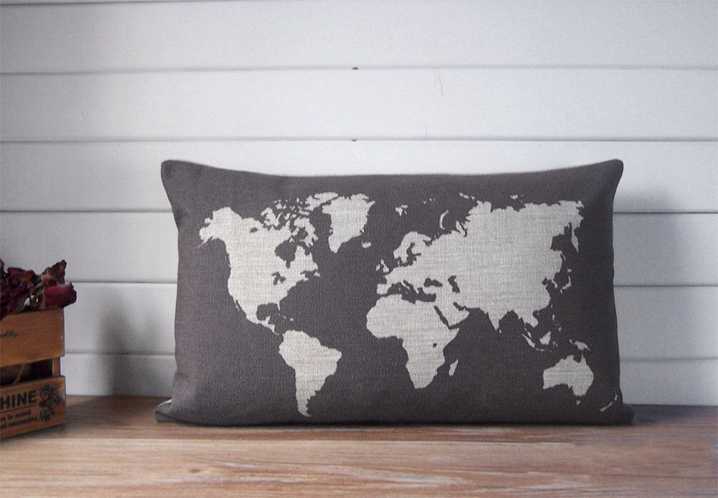 Map pillow linen pillow case with world map design decorative map pillow linen pillow case with world map design decorative throw pillow gray gumiabroncs Choice Image