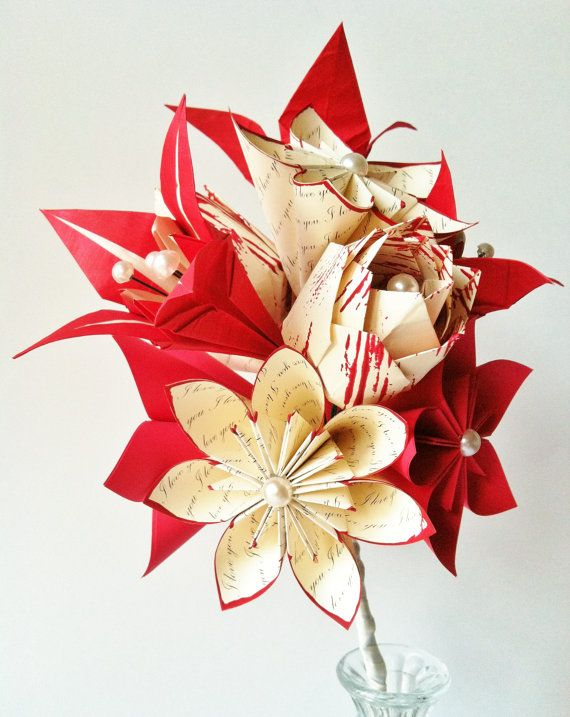 Rose lily love paper bouquet 12 one of a kind paper flowers made rose lily love paper bouquet 12 one of a kind paper flowers made to order origami romantic first anniversary gift bride wedding mightylinksfo