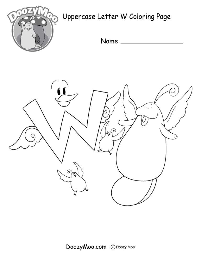 The Letter W Doozy Moo And Their Friends All Have Wings In This Uppercase Letter W Coloring Page Alphabet Coloring Pages Coloring Pages Lettering