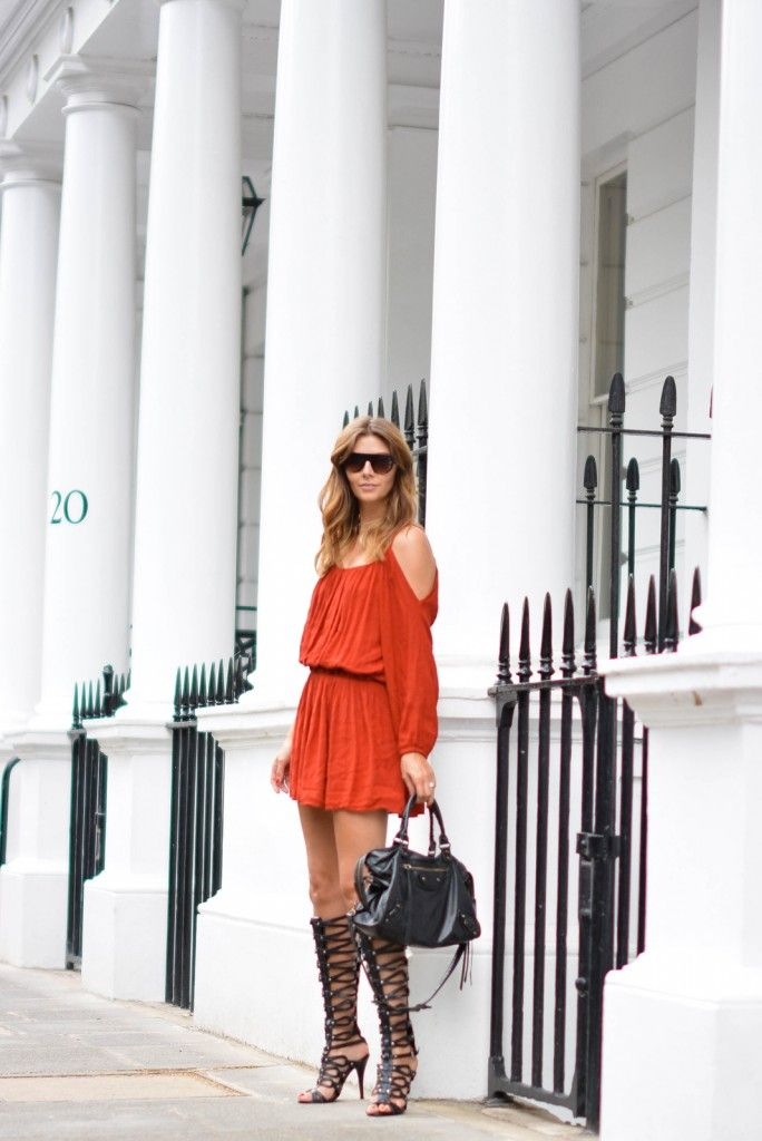 be02e55c7d4 EJSTYLE wears Rust cold shoulder Primark dress, Black leather ...