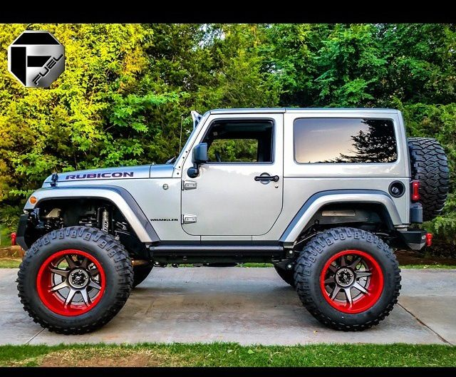 Two Door Silver Rubicon With Custom Lift And New Fuel Wheels Jeep Jk Lifted Jeep Dream Cars Jeep