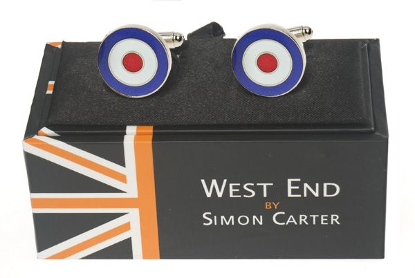 Target Cufflinks!  Stylish pair of silver cufflinks with RAF Target design from Simon Carter's West End collection. Comes in a specially designed box, a perfect gift for him.    £19.95    http://www.huttonsdirect.com/shop/gift_ideas/gifts_for_men/raf_target_cufflinks