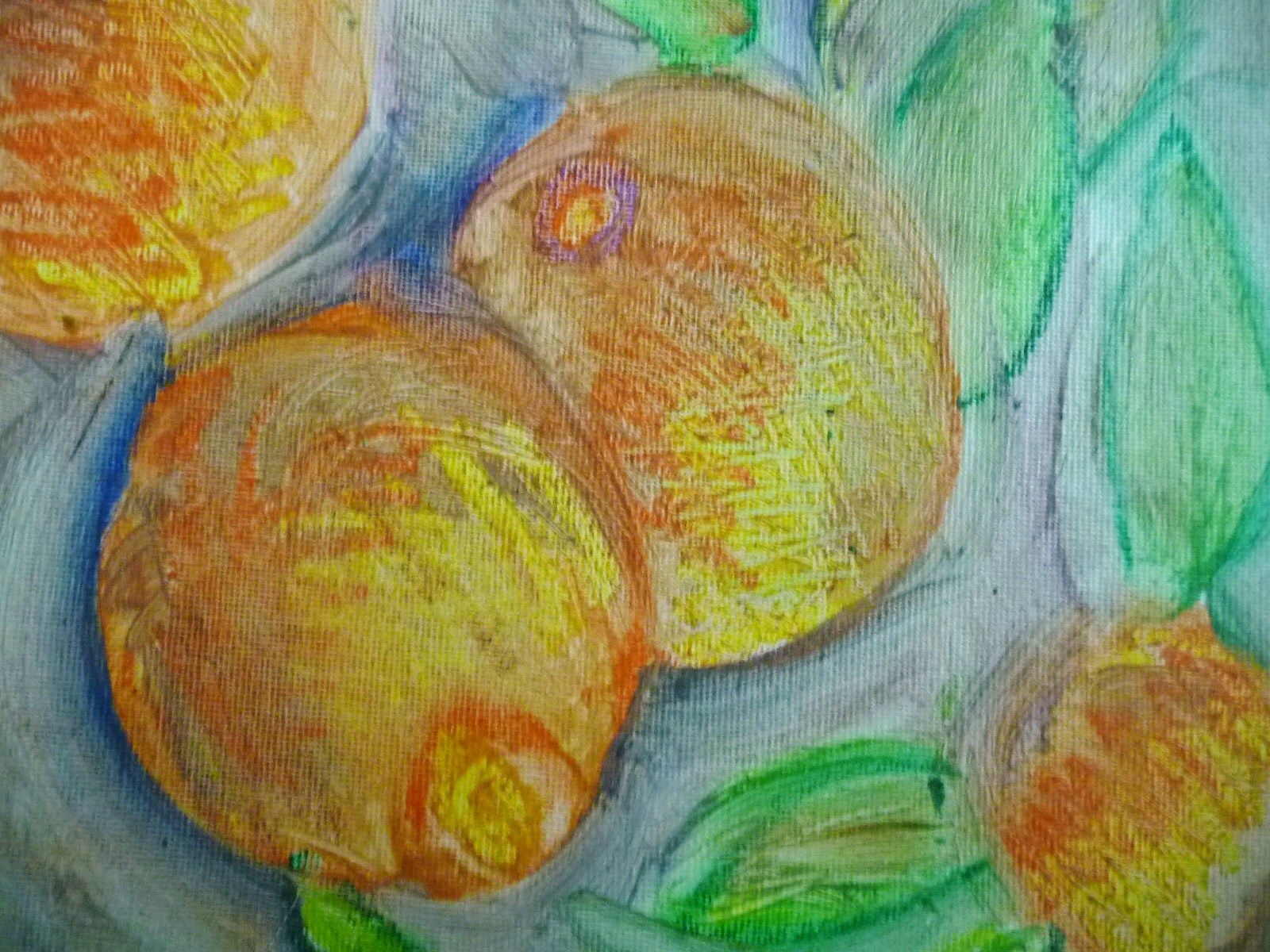 Peaches. Oil pastel and oil medium on canvas panel. Copyright 2012 by S. K. Cole.