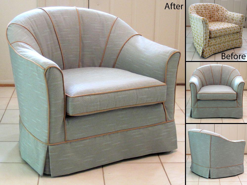 Slipcovered barrel back chair