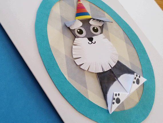 Funny Schnauzer Origami Birthday Card Handmade Paper Cut Dog