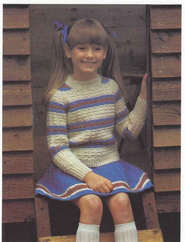 Girls Skating Skirt and Sweater Pattern Digital Knitting Pattern ...