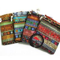 Chirstmas nepal bracelets - Nepal Stripe Linen Gift Pouches cmx11 cm Necklace Bracelet Fashion Jewelry Gift Bags national Drawstring Travel Organizer Storage bag