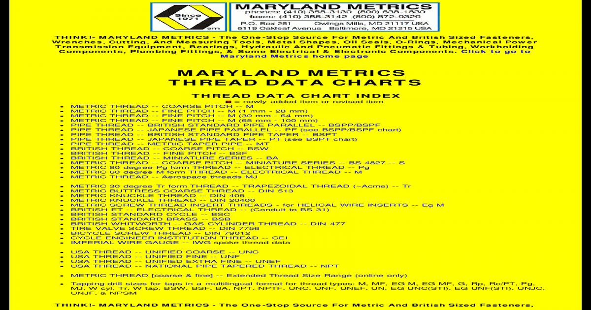 Maryland Metrics Bsp Thread Chart In 2020 Metric Metric Thread Chart