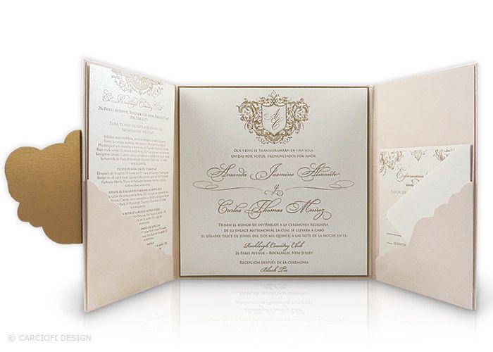 Gold Embossed Wedding Invitations: Luxury, Suede, Embossed, Letterpress, Wedding Invitation