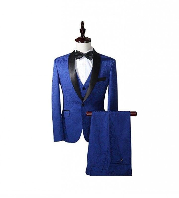 3 Pieces Royal Blue Black Shawl Mens Suits Wedding Suits for Men ...