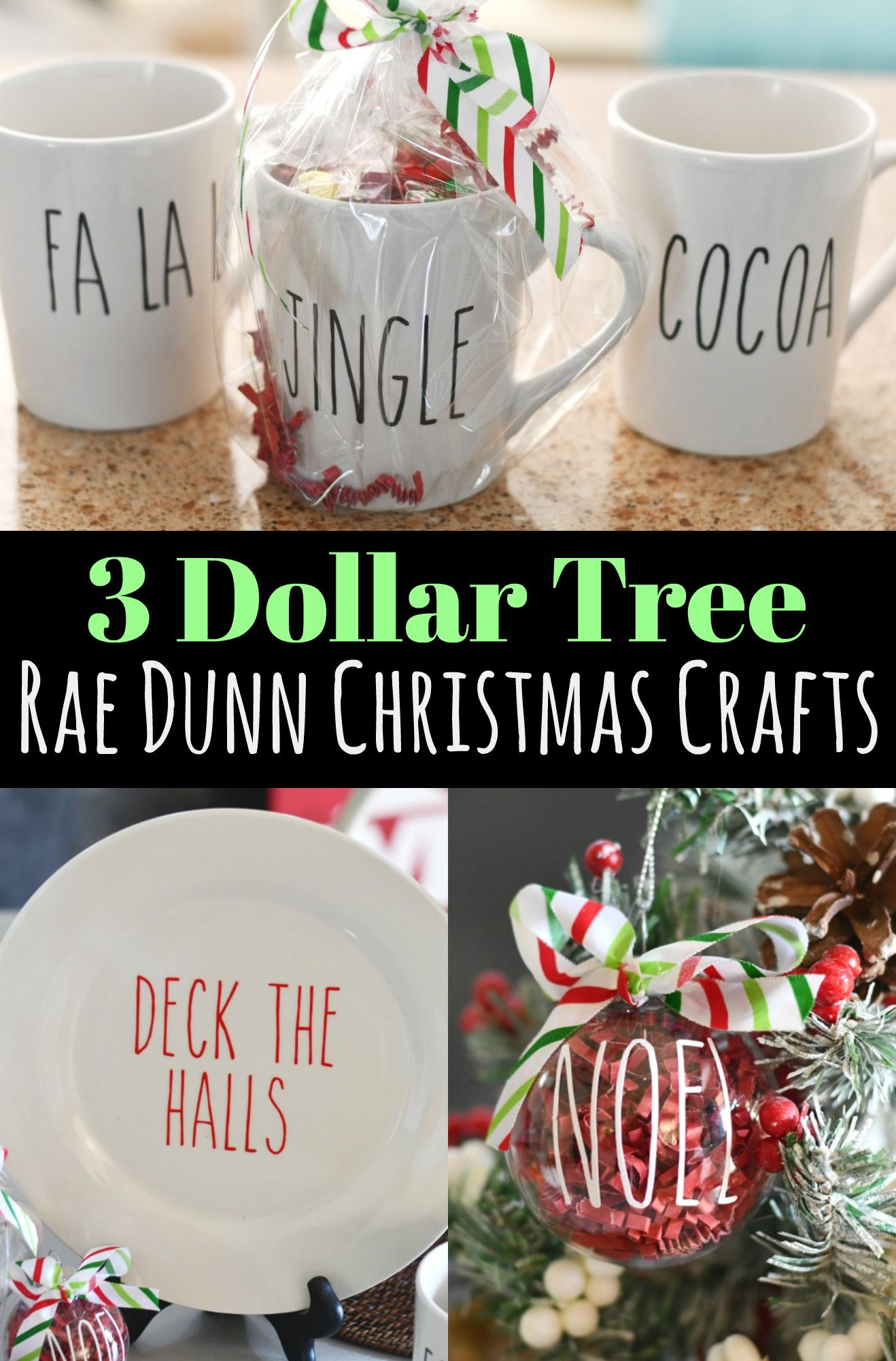Rae Dunn Inspired Christmas Crafts from Dollar Tree Items! #dollarstorechristmascrafts