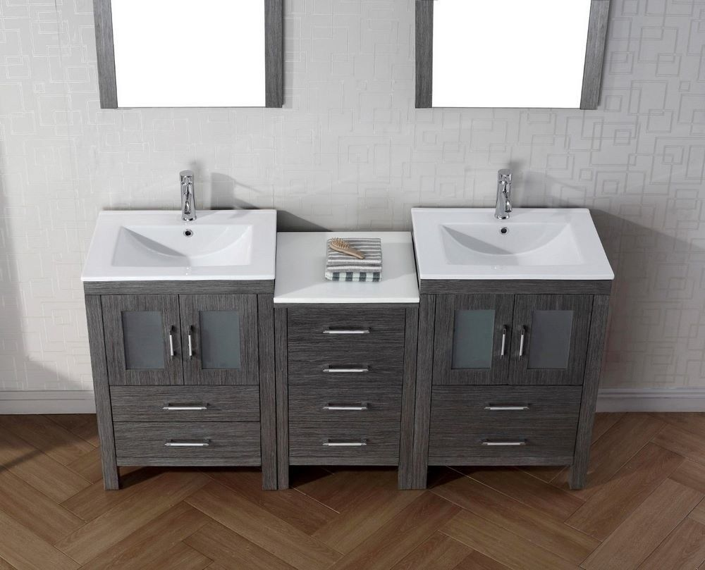 66 Inch Bathroom Vanity Cabinets With Images Double Vanity